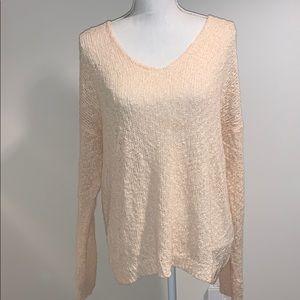 Oversized Knit V Neck Sweater